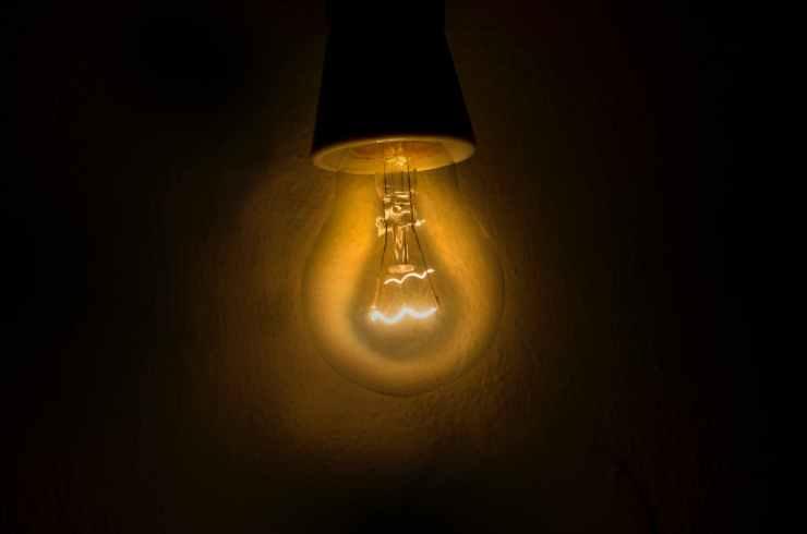 bright bulb close up dark