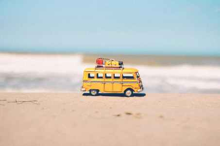 beach blue car combi
